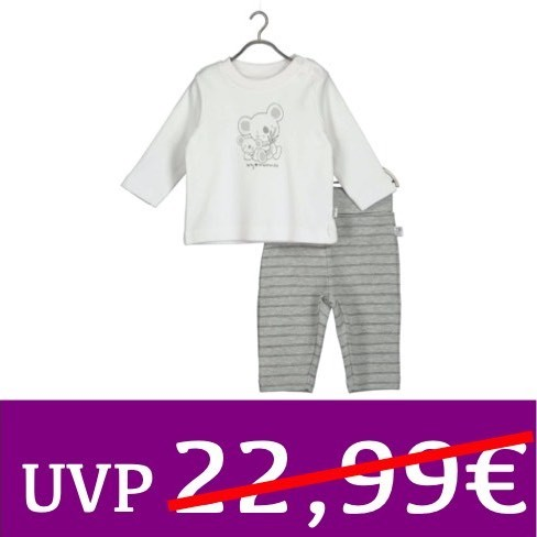 Set Langarm-Shirt und Hose COSY MOMENTS weiß/grau BLUE SEVEN