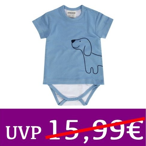 Body mit Kurzarmshirt Hund HAPPY CAR FRIENDS blau JACKY